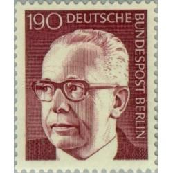 1 عدد تمبر سری پستی رئیس جمهور فدرال گوستاو هاینمان - 190 فنیک  - برلین آلمان 1972