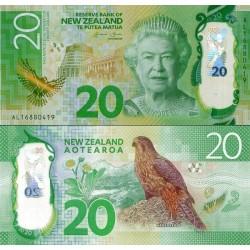 اسکناس پلیمر 20 دلار - نیوزلند 2016 دو رقم اول سریال سال انتشار است