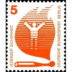 1 عدد تمبر سری پستی - پیشگیری از حوادث - 5 فنیک - برلین آلمان 1971