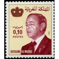 1 عدد تمبر سری پستی -شاه حسن دوم - 0.1 درهم - مراکش 1981