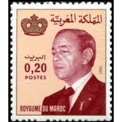 1 عدد تمبر سری پستی -شاه حسن دوم - 0.2 درهم - مراکش 1981