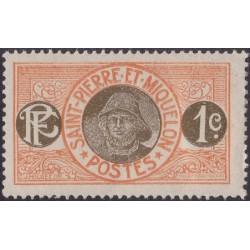1 عدد تمبر سری پستی - ماهیگیر  -1 سنت -سنت پیر و میکوئلن 1909 با شارنیه