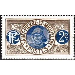 1 عدد تمبر سری پستی - ماهیگیر  -2 سنت -سنت پیر و میکوئلن 1909 با شارنیه