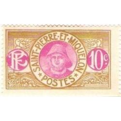 1 عدد تمبر سری پستی - ماهیگیر  - 10 سنت - سنت پیر و میکوئلن 1909 با شارنیه