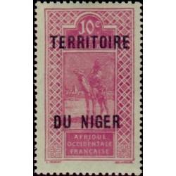 1 عدد تمبر سری پستی - سورشارژ قلمرو نیجر - 10 سنت - نیجر 1921 با شارنیه