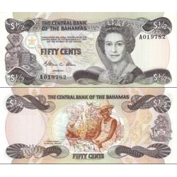 اسکناس 50 سنت - نیم دلار - باهاماس 1984