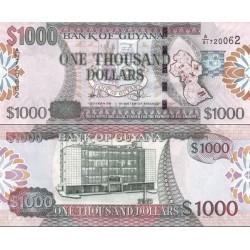 اسکناس 1000 دلار - گویانا 2009 چاپ دلارو لندن با لیبل هولوگرافیک