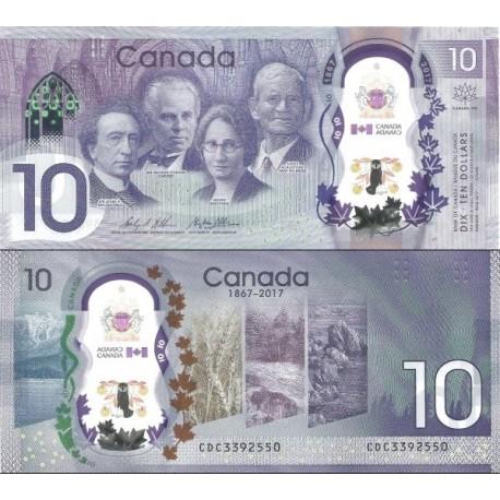 اسکناس پلیمر 10 دلار - یادبود 150مین سالگرد استقلال کانادا  - کانادا 2017