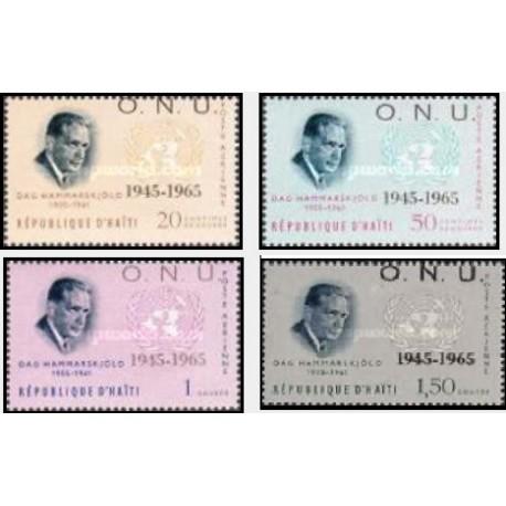 4 عدد تمبر بیستمین سالگرد سازمان ملل - سورشارژ ONU - پست هوائی - هائیتی 1965