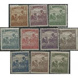 10 عدد تمبر سری پستی دروگران - مجارستان 1916 بیش از صد سال قبل (1295 ه ش)