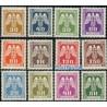 12 عدد تمبر سری پستی - On service - بوهمیا و مواویا 1943 با شارنیه