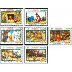 7 رقم از 9 عدد تمبر دیسنی - صدمین سال تولد آلان الکساندر میلنه نویسنده داستانهای خرسک تدی- آنگوئیلا 1982