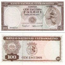اسکناس 100 اسکودو - تیمور شرقی 1963 حاشیه دارای تعدادی لکه زرد