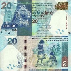 اسکناس 20 دلار - بانک شرکتی هنگ کنگ و شانگهای - هنگ کنگ 2013