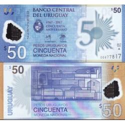 اسکناس پلیمر 50 پزو - یادبود پنجاهمین سال تاسیس بانک مرکزی اروگوئه -  اورگوئه 2017