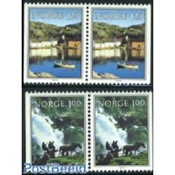 2 جفت تمبر مناظر  - جفت بوکلت - نروژ 1979