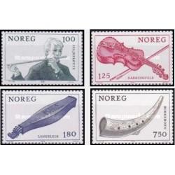 4 عدد تمبر آلات موسیقی - نروژ 1978