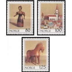 3 عدد تمبر کریستمس - اسباب بازیهای قدیمی - نروژ 1978