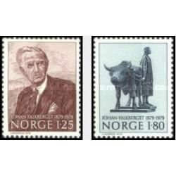 2 عدد تمبر صدمین سال تولد جان فالکبرگت - نویسنده - نروژ 1979