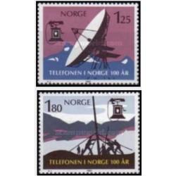 2 عدد تمبر صدمین سالروز اولین تلفن در نروژ - نروژ 1980