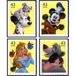 4 عدد تمبر کاراکترهای دیسنی - خودچسب - آمریکا 2008 قیمت روی تمبر 1.68دلار
