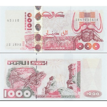 اسکناس 1000 دینار - الجزائر 1998 با نوار امنیتی هولوگرافیک