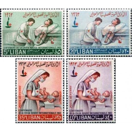 4 عدد تمبر صدمین سالگرد صلیب سرخ- پست هوائی - لبنان 1963