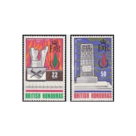 2 عدد تمبر سال بین المللی حقوق بشر - هندوراس بریتانیائی 1968