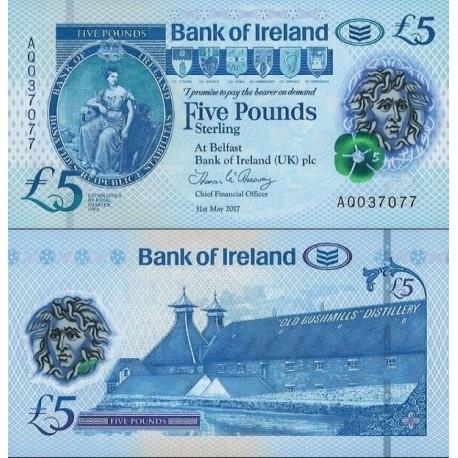 اسکناس  پلیمر 5 پوند استرلینگ - ایرلند شمالی 2017