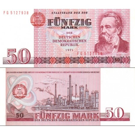 اسکناس 50 مارک - فردریش انگلس - جمهوری دموکراتیک آلمان 1971 ارقام سریال نازک