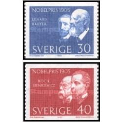 2 عدد تمبر برندگان جایزه نوبل  - سوئد 1965