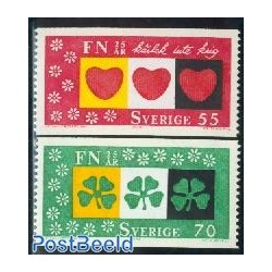2 عدد تمبر 25مین سالگرد سازمان ملل- سوئد 1970