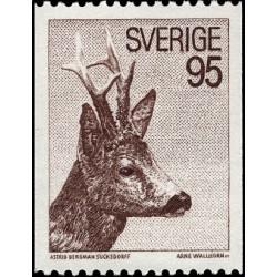 1 عدد تمبر گوزن اروپائی Roe - سوئد 1972