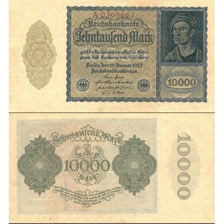 اسکناس 10000 مارک - رایش بانک - رایش آلمان 1922 - پرفیکس سریال تک حرفی