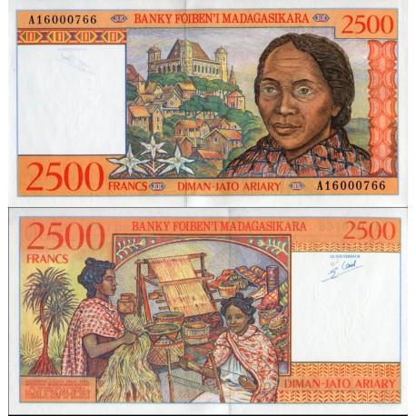 اسکناس 2500 فرانک - 500 آریاری - ماداگاسکار 1998