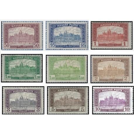 9 عدد تمبر ساختمان پارلمان در بوداپست - مجارستان 1945