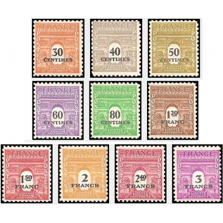 10 عدد تمبر طاق پیروزی - سورشارژ - فرانسه 1945
