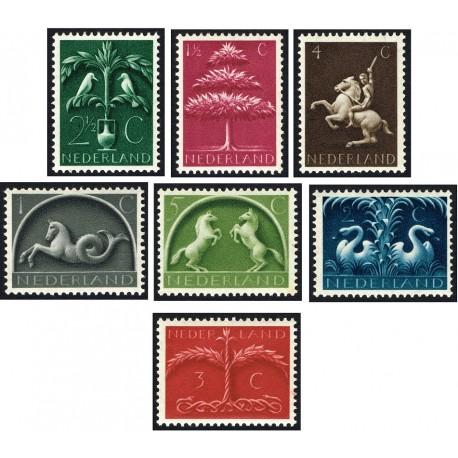 7 عدد تمبر نمادهای آلمانی -  ژرمن  - هلند 1943