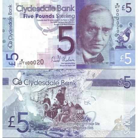 اسکناس 5 پوند استرلینگ - تصویر الکساندر فلمینگ - اسکاتلند 2009 تاریخ  6.08.2009