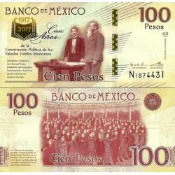 اسکناس  100 پزو - یادبود صدمین سال تاسیس قانون اساسی مکزیک - مکزیک 2016