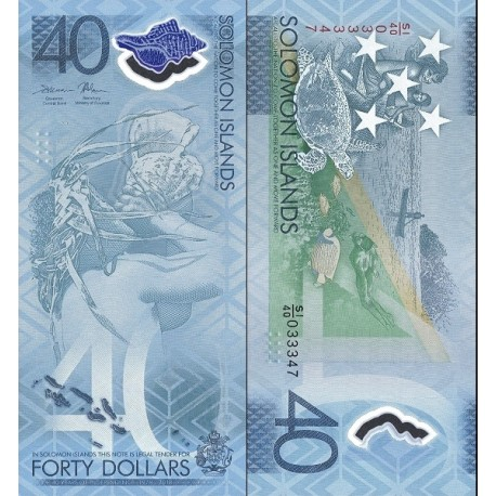 اسکناس پلیمر 40 دلار - یادبود چهلمین سالگرد استقلال - جزایر سلیمان 2018