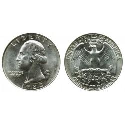 سکه 25 سنت - کوارتر - نیکل مس - تصویر جرج واشنگتن - آمریکا 1988 غیر بانکی