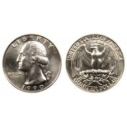سکه 25 سنت - کوارتر - نیکل مس - تصویر جرج واشنگتن - آمریکا 1990 غیر بانکی
