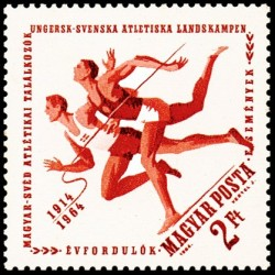 1 عدد تمبر پنجاهمین سالروز اولین رویارویی ورزشی مجارستان و سوئد - مجارستان 1964