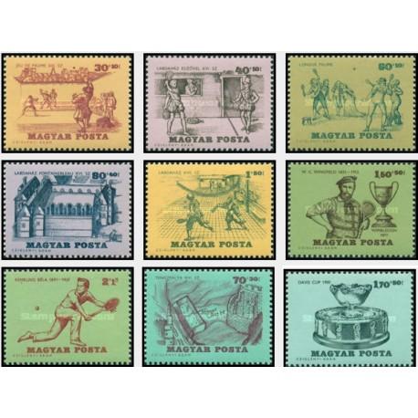9 عدد تمبر تاریخچه نمایشگاه تنیس - مجارستان 1965 قیمت 4.5 دلار