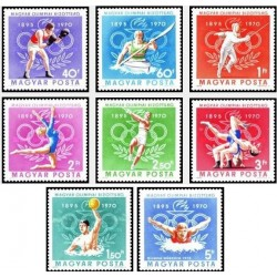8 عدد تمبر هفتادمین سالگرد کمیته المپیک مجارستان - مجارستان 1970 قیمت 4.2 دلار