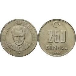 سکه 250000 لیر - نیکل مس روی - ترکیه 2002 غیر بانکی