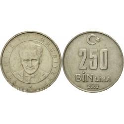 سکه 250000 لیر - نیکل مس روی - ترکیه 2003 غیر بانکی