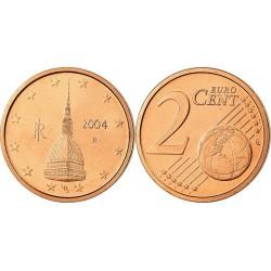 سکه 2 سنت یورو - مس روکش فولاد - ایتالیا 2004 غیر بانکی