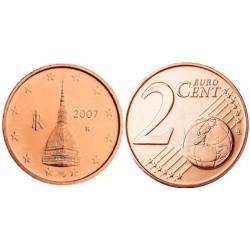 سکه 2 سنت یورو - مس روکش فولاد - ایتالیا 2007 غیر بانکی